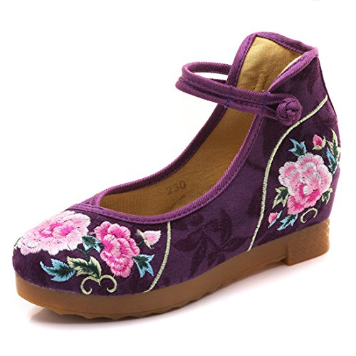 Blumen Frauen Stickerei Casual Wohnungen Thicked Sole Wedges Mary Janes Schuhe (Violett,38 - Mary Purple Schuhe Jane