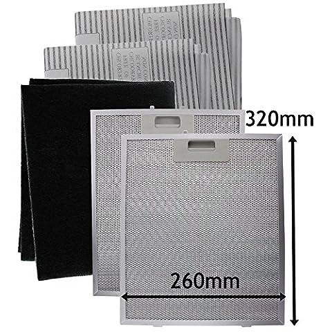 Spares2go universel en métal en maille filet, Carbon + filtres à graisse pour toutes les marques du hotte/extracteur d'aération (320x