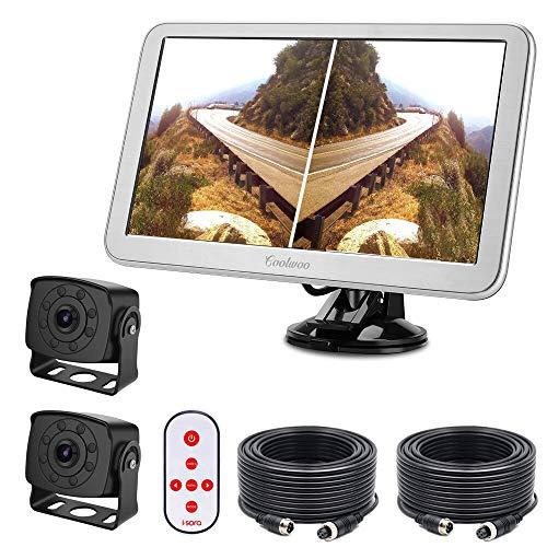 """9\"""" TFT LCD Kfz-Monitor + 8 IR Rückfahrkamera mit Nachtsicht, 175 ° Winkel, IP68 + 20m Anschlusskabel Für LKW/Wohnmobil/Bus/Anhänger (12-32 Volt) (9\"""" Monitor* Rückfahrkamerax 2 Set)"""