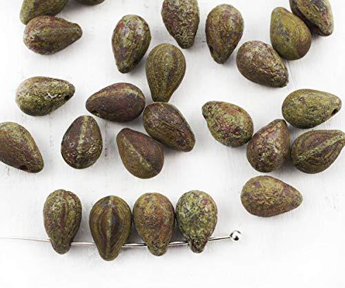 20pcs Picasso-Koralle, Rot-Braun, Rau, Rustikal Geätzt Frosted Teardrop Träne Tschechische Glas-Perlen, 9mm x 6mm -