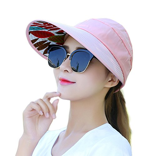 Women's Roll Up Topless Wide Brim Beach Visor Cap Summer Sun Hat Adjustable Foldable UV Protection Hat (Style 2 - Pink) (Hot Pink Tweed)