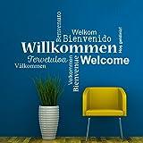 KLEBEHELD® Wandtattoo Wortwolke Willkommen mehrere Sprachen: Welcome, Benvenuto, Bienvenido, Bienvenue, Hos geldiniz Farbe schwarz, Größe 80x56cm