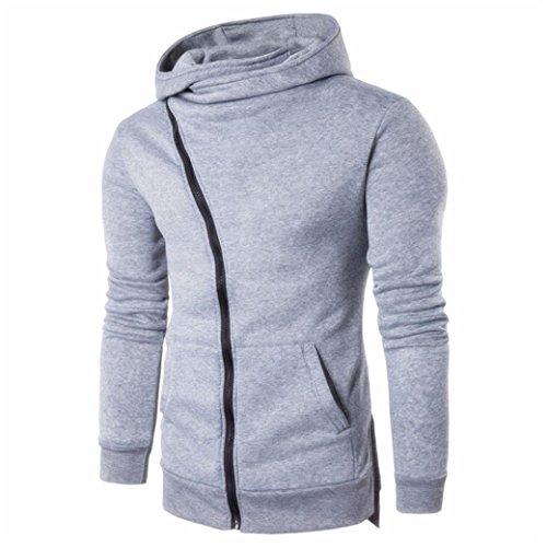 VENMO Winter Warm Hoodie Hooded Kapuzenpullover Sweatshirt Pulli Jacke Lederjacke Männer Oberbekleidung Pullover Zipper Hooded Coat Outwear Pullover Casual T-Shirts Hoodie (M, Grey) -