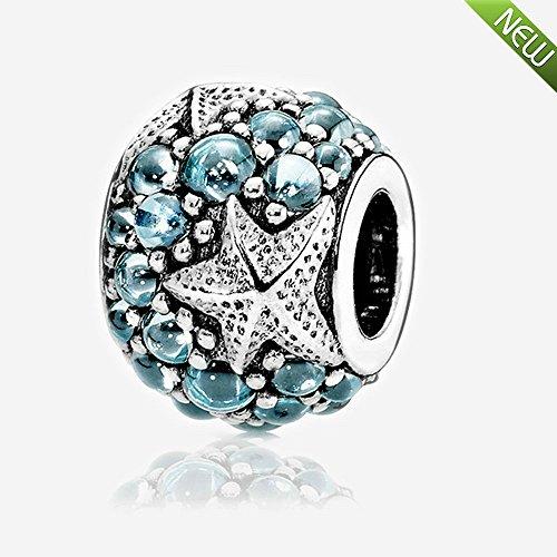 PANDOCCI DIY Perlen passend für Pandora Armband 2016 Sommer Oceanic Seestern Charm Charms mit Zirkonia 100% 925 Sterling Silber (1, dunkelblau)