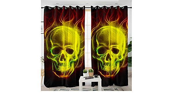 zpangg Black Out Window Cover Pirate Skull Blackout For Children Bedroom Eyelet Thermal Insulated Room Darkening Curtains For Nursery Living Room Bedroom 150/×166Cm