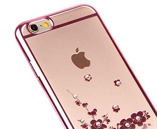 Coque Housse Etui pour iPhone 6 Plus, iPhone 6 Plus Coque en Silicone avec Bling Diamant, iPhone 6 Plus Or Coque Placage de diamant Etui Housse, iPhone 6s Plus Or Coque Gold Etui Housse avec Bling Dia Plum fleur