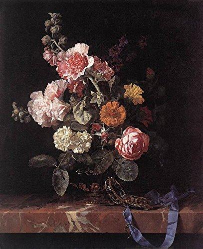 Das Museum Outlet-Stilleben mit Blumen in ein Glas Vase und Taschenuhr-Leinwanddruck Online (61x 45,7cm)