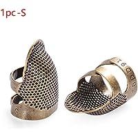 Dedal de aguja dorado vintage con diseño de anillo envejecido y costuras de metal para manualidades