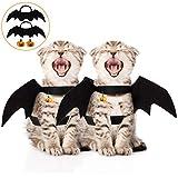 Boao 4 Stück Halloween Haustier Kostüm Fledermaus Flügel, Halloween Haustier Hund Fledermaus Flügel Katze Fledermaus Kostüm, Haustier Kürbis Halsband