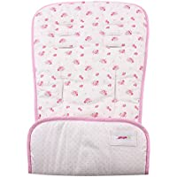 Minene Universal Reversible Pushchair Stroller Pram Buggy Liner Footmuff Cosy toes Car Seat (Cream with Pink Flowers)