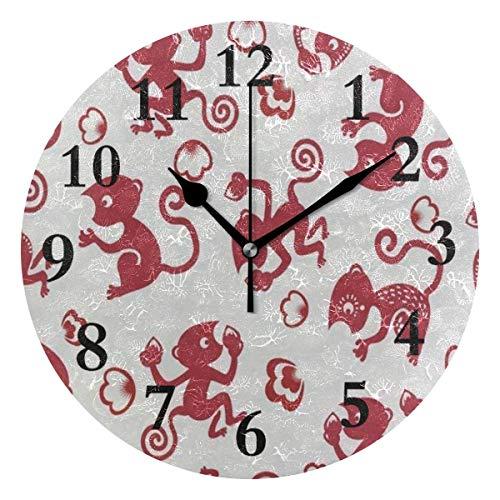 Jxrodekz Runde Wanduhr Red Monkey Acryl kreative dekorative für Wohnzimmer/Küche/Schlafzimmer/Familie