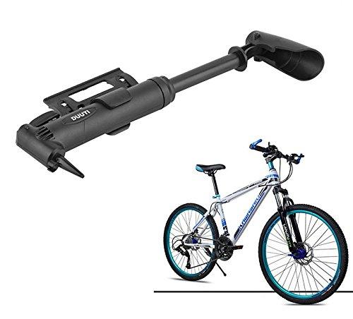 ETU24® Hochdruck Mini Fahrradpumpe, Luftpumpe und Ballpumpe klappbar - hochwirksame Mini Luftpumpe mit Rahmenhalterung für alle Ventile mit 3 Adaptern - Mini Bike Pump - Sofortversand aus Deutschland