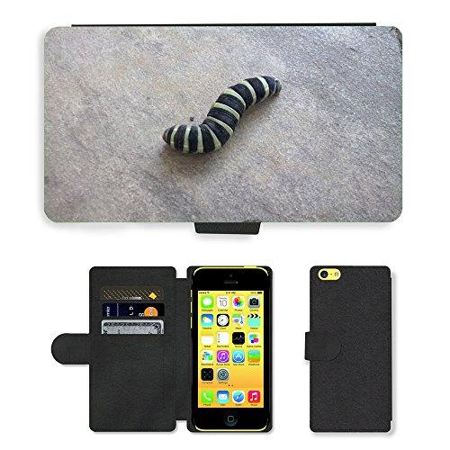 Just Mobile pour Hot Style Téléphone portable étui portefeuille en cuir PU avec fente pour carte//m00138655Caterpillar Larve d'insectes//Apple iPhone 5C