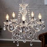 DESIGN DELIGHTS Luxus KRONLEUCHTER Elegance Lampe Lüster mit Acrylkristallen 5 armig Ø 54 cm transparent