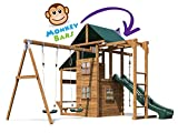 Kids Wooden Garden Climbing Frame Pressure Treated Playhouse Wave Swing Slide Set Monkey Bars Climbing Wall - ManorFort® Stronghold