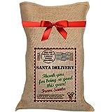 Ukgiftbox - Sacco in juta per le consegne di Babbo Natale, idea regalo per ragazze e ragazzi