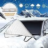 Couverture pare-brise voiture, Mture Protection Pare-brise Voiture Anti Givre Neige Glace Repliable Bache Pare Brise Avant pour Voiture Anti UV, Pluie (183*116cm)