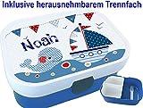 Kindergarten Brotdose mit Name, Mädchen, Jungen, Wal-Segelschiff, Schule, Kita, personalisiert, Lunchbox, Brotzeitdose, Vesperdose, Vesperbox, Bento Box, ginidesign