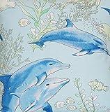 Textile London Stoff mit Blauen Fischen, digital Bedruckt,