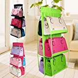 #10: EKRON 6 Pocket , Large Handbag Hanging Storage Bag Organizer Wardrobe Rack Hangers Holder For Fashion Handbag , Random Colour