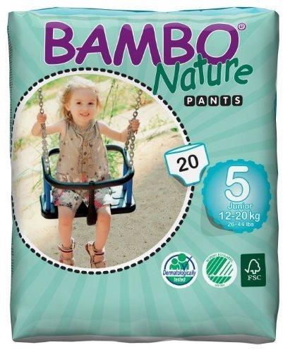 Bambo pantalones de entrenamiento para Junior: tamaño 5, compatible con 26LBS–44libras, absorbe 1055ml, 20/BG, 5BGS/CS o 100/Cs por Bambo Nature
