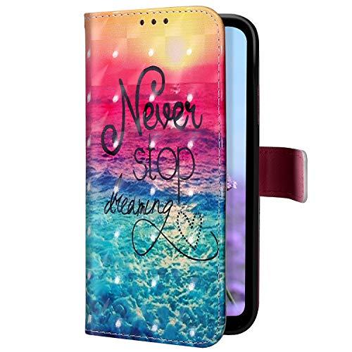 Uposao Kompatibel mit Samsung Galaxy S10 5G Handyhülle Glitzer Bling 3D Bunt Leder Hülle Flip Schutzhülle Handytasche Brieftasche Wallet Bookstyle Case Magnet Ständer Kartenfach,Ozean