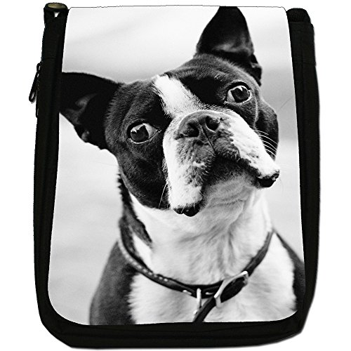 Boston Terrier Boston Bull Bosso Medium Nero Borsa In Tela, taglia M Black & White Boston Terrier