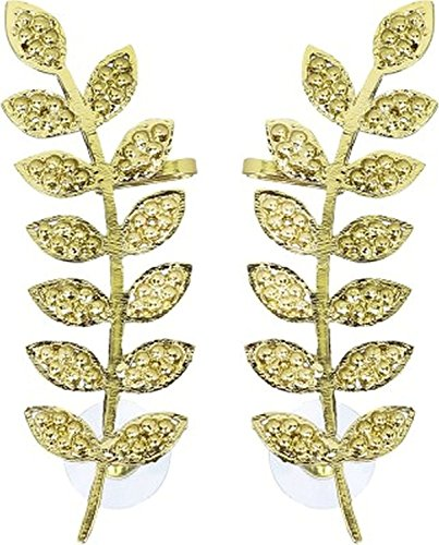 The Jewelbox Floral Leaf 18K Antique Gold Plated Ear Cuff Pair for Women  available at amazon for Rs.307