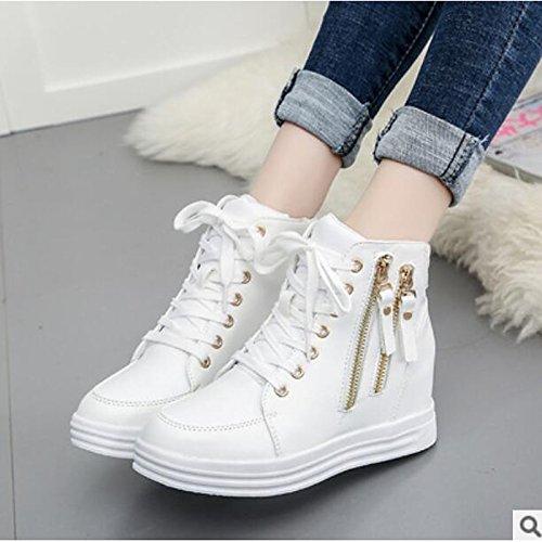 HSXZ Scarpe donna pu Autunno Inverno Comfort stivali Flat punta chiusa Babbucce/stivaletti di abbigliamento casual bianco nero White