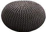MAB Bequemer Sitzsack Strick.-Hocker Sitzhocker, Sitzpouf für modernes Wohnen, 55 cm - Bodenkissen handgeknüpft, Anwärter auf das Ökotex Zertifikat (Outdoor_braun_Mocca)