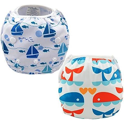 Damero 2pcs Pañales de natación para bebés viaje pañal de tela de la cubierta del traje de baño para los bebés y de las