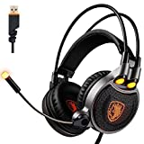 PC PS4 Gaming Headset, SADES R1 7.1 Surround Sound Headsets USB Gaming Headphones Over-ear Headphones with Microphone LED Vibration