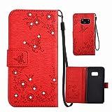 Hülle Samsung S7 Edge, MingKun PU Leder Prägung Schmetterling Butterfly Schutzhülle für Samsung Galaxy S7 Edge Handyhülle Diamant Bling Wallet Flip Case Cover mit Handyhalter - Rot