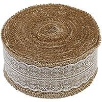 Cinta de arpillera con detalle de encaje, 1 metro, disponible en anchos de 2,5 cm, 4 cm y 6 cm, como en la imagen, 6 cm