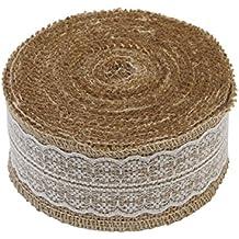 Cinta de arpillera con detalle de encaje, 1 m, disponible en anchos de 2,5 cm, 4 cm y 6 cm, 6 cm