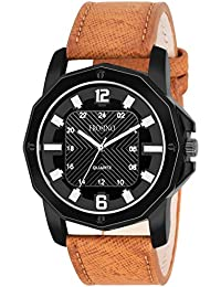 Frosino Mens Wrist Watch-Quartz Analog Numeral with Classic Brown Faux Leather - Fashion Casual Unique Dress - Business Office Work School Watches for Men - FRAC101833