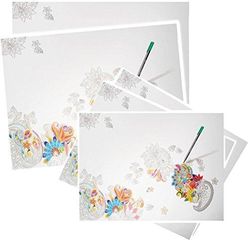 alles-meine.de GmbH Papier - XL Schreibtischunterlage / Unterlage -  Blüten & Blumen  - 60 cm * 42 cm - Größe A2 - 30 Blatt - zum Anmalen & Ausmalen - Abreissblock / Bastelunte..