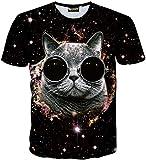 Pizoff Unisex Sommer leicht bunt bequem cool Digital Print T Shirts mit 3D sternhimmel Katzen Cats Brille lustig Muster Y1730-Q8-L-alfa