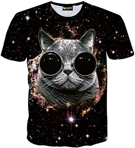 Katze Denim Shirt (Pizoff Unisex Sommer Leicht Bunt Bequem Cool Digital Print T Shirts mit 3D sternhimmel Katzen Cats Brille Lustig Muster Y1730-Q8-L-alfa)