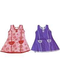 Popcorn Girls Cotton Frocks for girls Combo Pack of 2 (New Arrival frocks for kids) Sleeveless