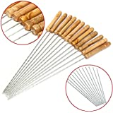 12x reutilizable barbacoa pinchos de metal con mango de madera barbacoa para asar de acero inoxidable aguja parrilla tenedor 12pulgadas