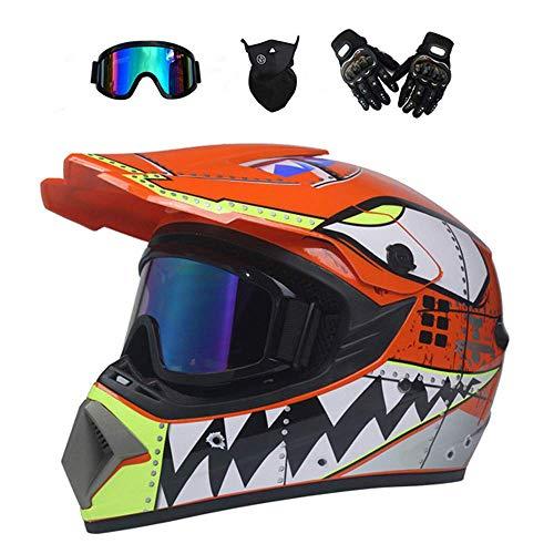 LOOSMD Motocross-Helm, Motorrad-Cross-Helm und Schutzbrillen-Handschuhmaske, Kinder-Mountainbike-Vollvisierhelm, Motorradhelm-Helm-Set für den ATV-Downhill-Sicherheitsschutz