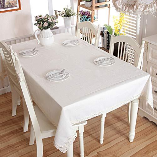 er Baumwolle tischdecke, tischdecke weiße Spitze, wasserdicht und staubdicht tischdecke ideal für Picknick, Party, Restaurant, esstisch, 100x140cm ()