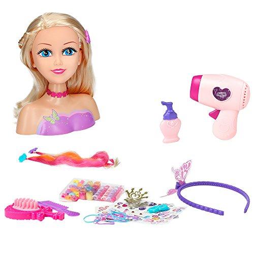 ColorBaby Busto peluquería Sparkle Girl y secador (Color Baby 44504)
