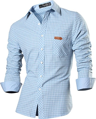 jeansian Herren Freizeit Hemden Shirt Tops Mode Langarmlig Men s Casual  Dress Slim Fit Z029 8615 LightBlue ... 66b90b9009