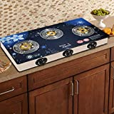 Sun Glain Surya Crystal Stainless Steel Toughened Glass 3 Burner Automatic Gas Stove (Blue)