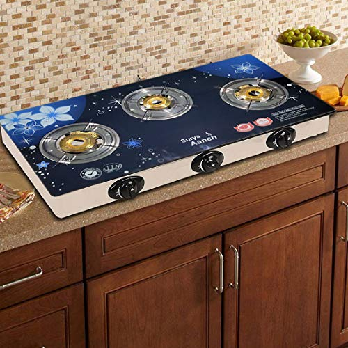 Sun Glain Surya Crystal Toughened Glass Stainless Steel 3 Burner Automatic Gas Stove