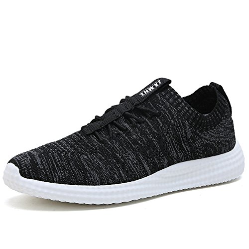 xiduoduo Herren Turnschuhe Fitnessschuhe Ultraleicht Sneakers Bequeme Laufschuhe Mesh Straßenlaufschuhe Atmungsaktiv Knit Schnüren Sommerschuhe Sportschuhe für Männer Joggingschuhe 39-47