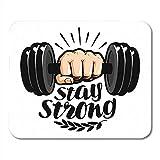 Mauspads Cartoon Hantel in der Hand Bleiben Sie stark Beschriftung Gym Fitness Label Motivation...
