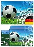 JuNa-Experten 12 Einladungskarten incl. 12 Umschläge Kindergeburtstag Jungen Fussball Geburtstag Jungs Geburtstagseinladungen Einladungen Geburtstagsparty Kartenset